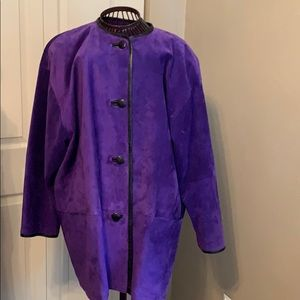 Gorgeous eggplant jacket with leather trim detail